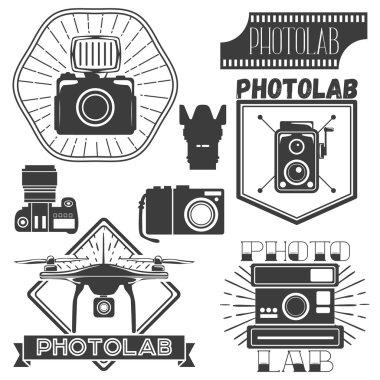 Vector set of photography and logo templates. Photo studio logotypes, design elements.