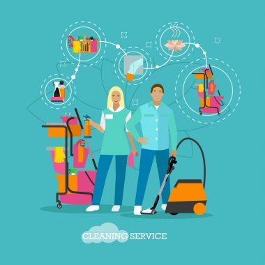 House cleaning service concept vector illustration in flat style. Housekeeping company team at work.