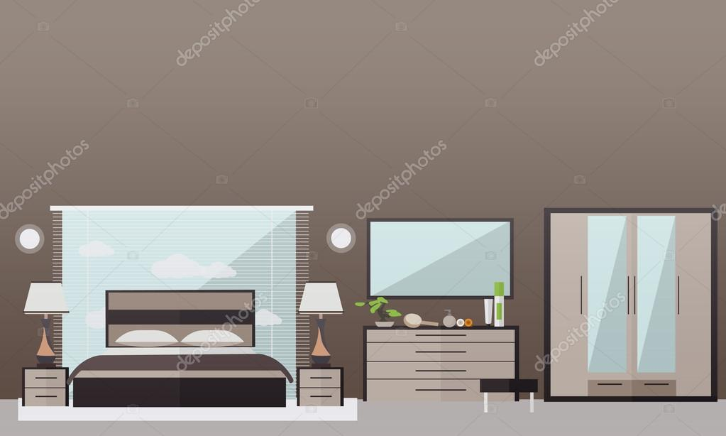 Bedroom interior in flat style. Vector illustration. House ... on bed lifters, bed texture, bed desktop, bed seat cushion, bed on beach, bed bolsters, bed people, bed queen, bed on stilts, bed cooler, bed bunker, bed railing, bed for disabled at home,