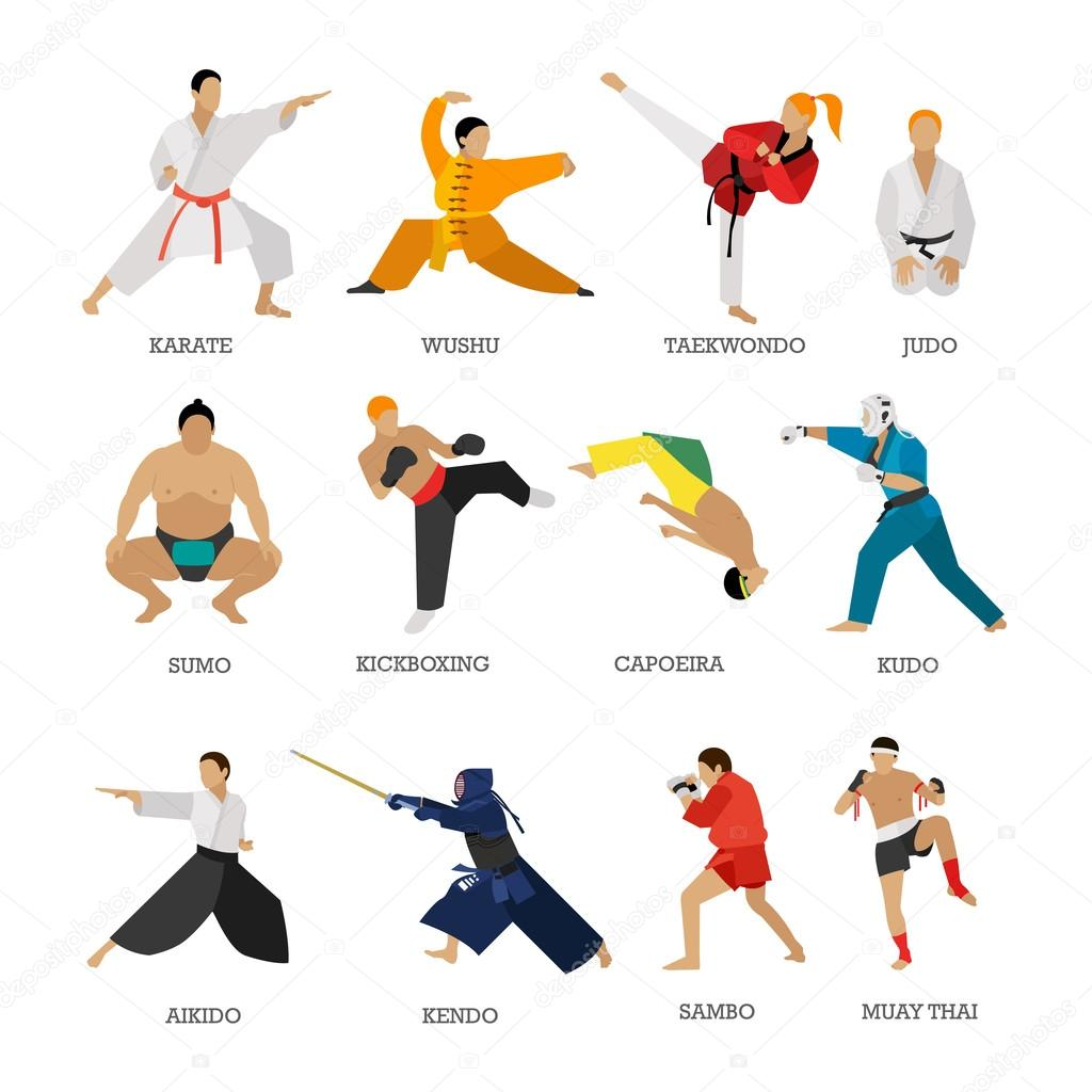 Vector Set Of Martial Arts People Silhouette Isolated On White Background Sport Fighters Positions