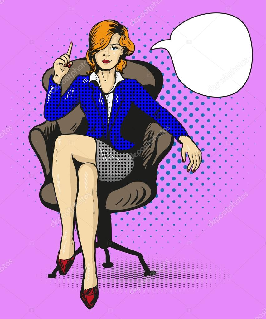 Erfolgreiche Geschaftsfrau Sitzen In Stuhl Vektor