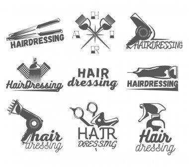 Vector set of hair salon labels in vintage style. Beauty and barber shop, scissors, blade.