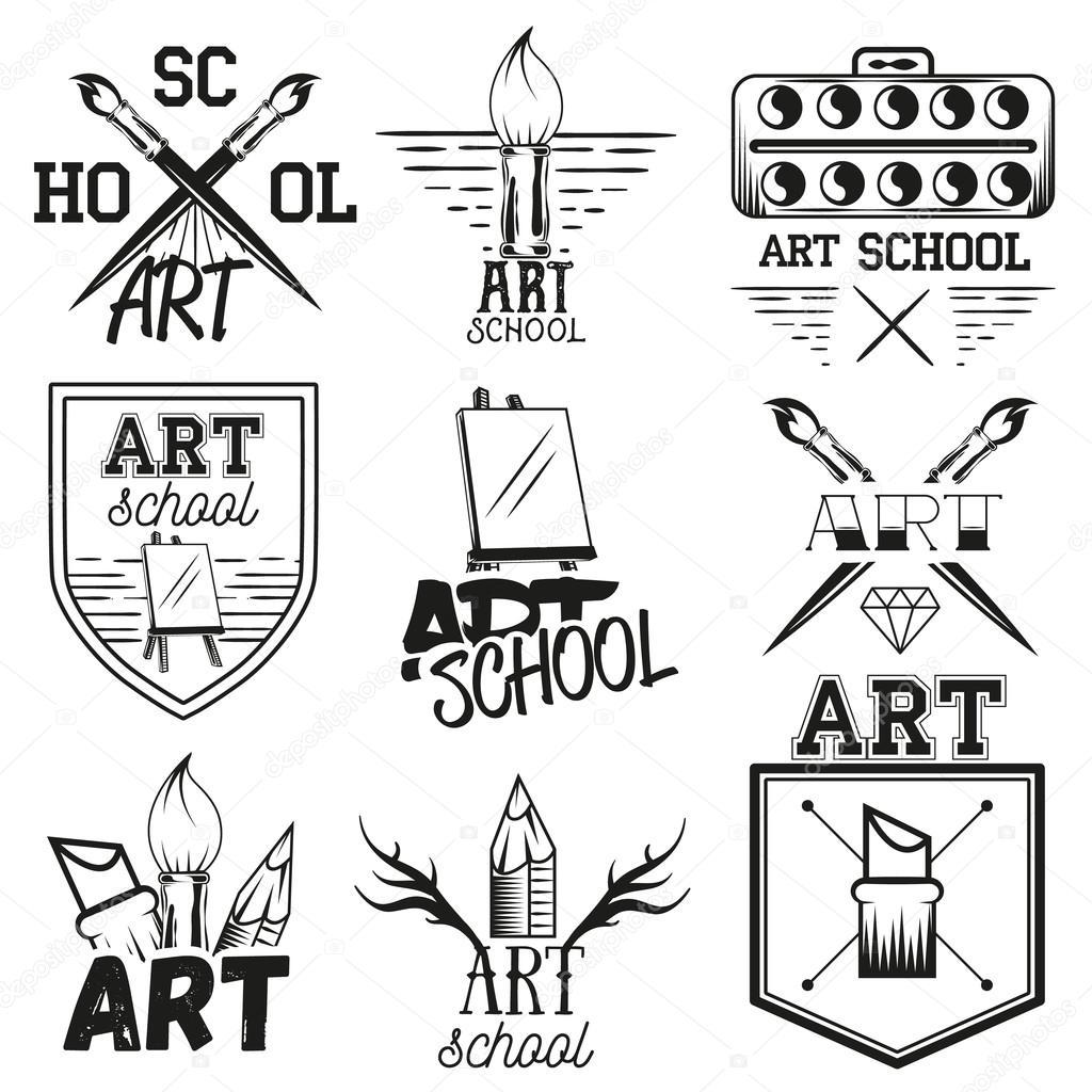 Vector Set Art Studio Labels In Vintage Style. School Of