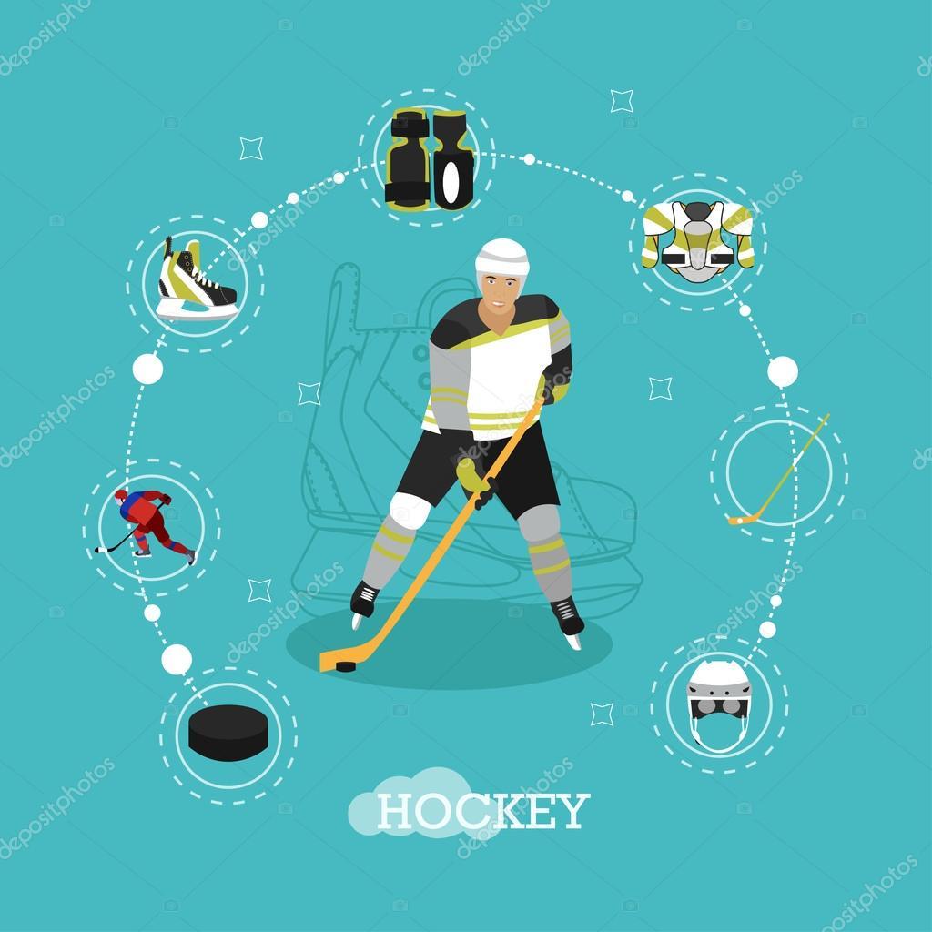 Homem no design de estilo plano uniforme de esporte. Objetos de hóquei no  gelo 684e352a873fe