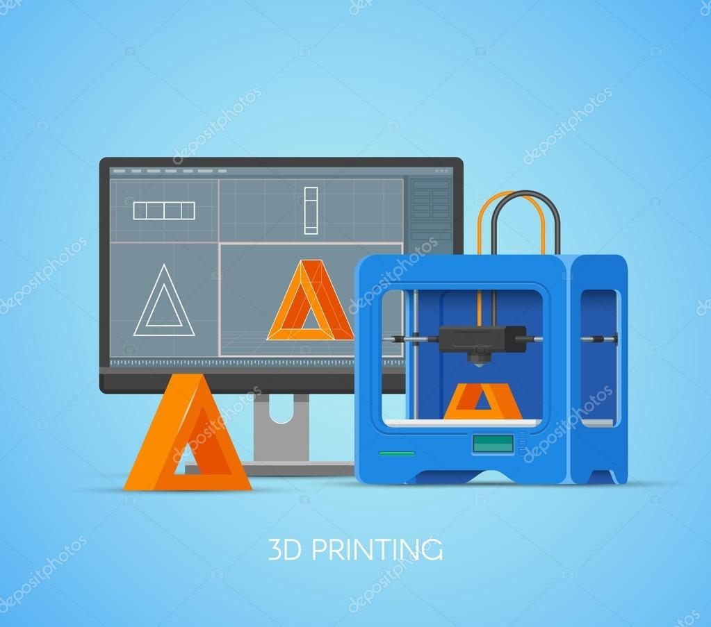 Poster design using 3d objects - 3d Printing Vector Concept Poster In Flat Style Design Elements And Icons Industrial 3d Printer Print Objects From Computer Model Vector By Skypistudio