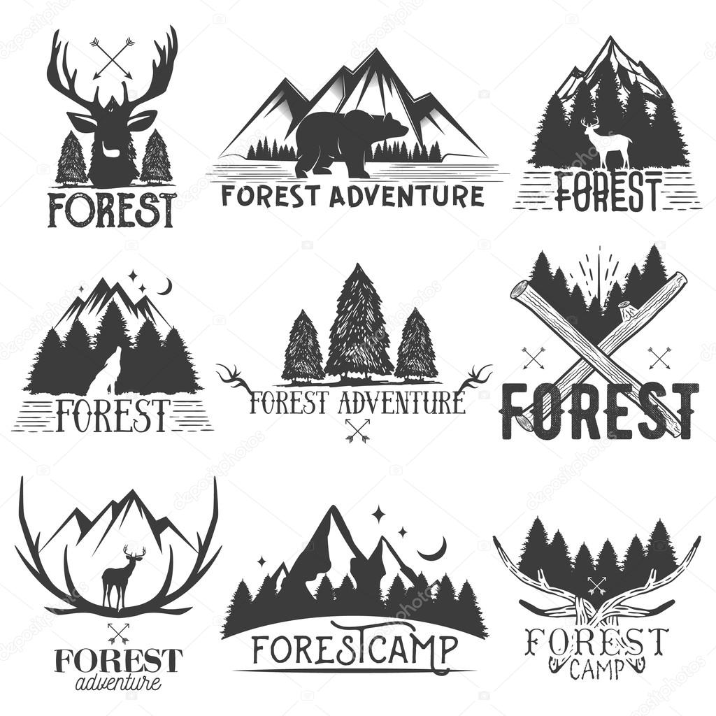 Vector set of forest theme emblems. Vintage badges, logos, labels and stickers with animal, trees silhouettes. Isolated illustrations on white background