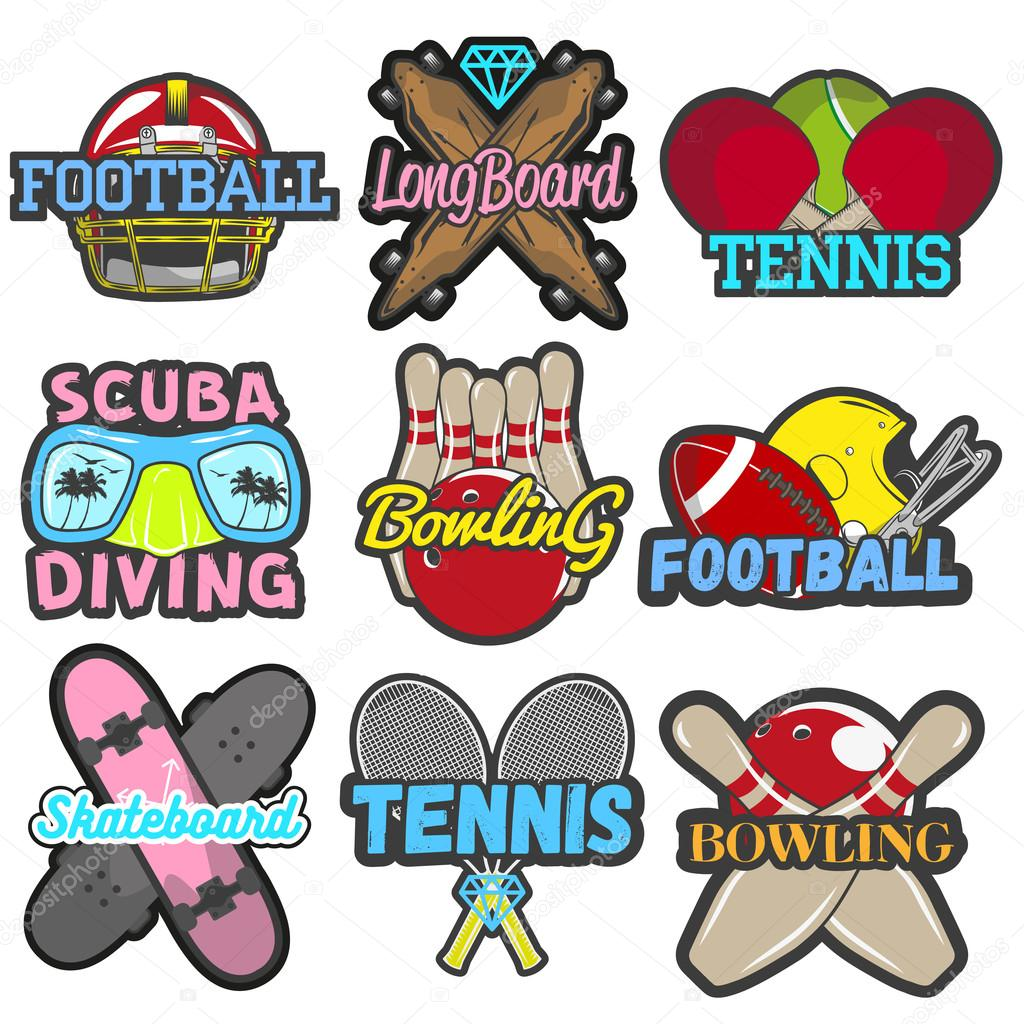 vector set of sports emblems badges logos labels banners