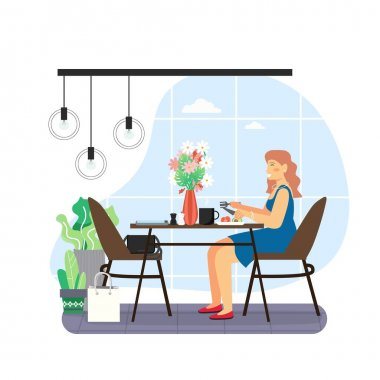 Daily life. Young woman having breakfast in the morning, flat vector illustration. Happy girl sitting at table, eating healthy meal, drinking tea. Daily morning routine, everyday activities. icon