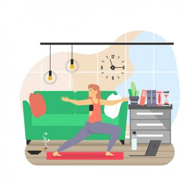 Daily life. Young woman doing yoga exercises, flat vector illustration. Daily routine, everyday activities. Sport, fitness online. Home yoga. Active and healthy lifestyle. icon