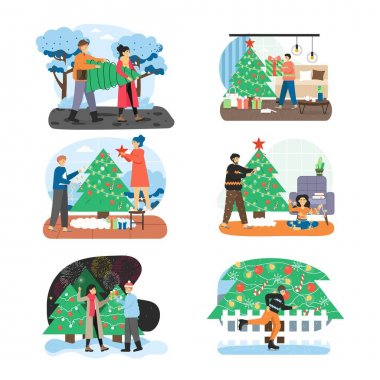 Merry Christmas scene set flat vector illustration. People preparing for winter holidays celebration, buying decorating Xmas tree. Couple celebrating New Year, man ice skating near city Christmas tree icon
