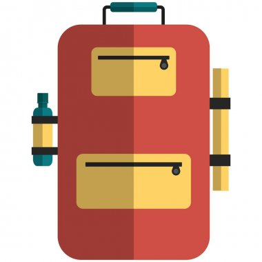 Backpack icon, flat vector illustration isolated on white background. Camping, hiking, trekking equipment. Tourist travel bag. icon