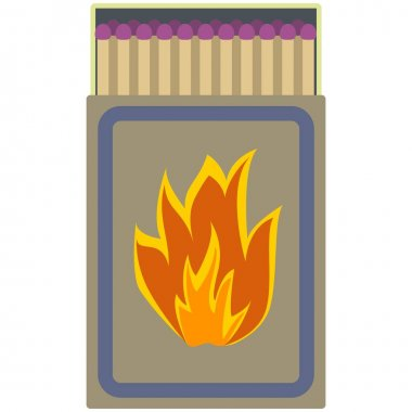 Matchbox vector. Matchstick in box illustration. Flammable sulfur stick in matchbook isolated on white background icon