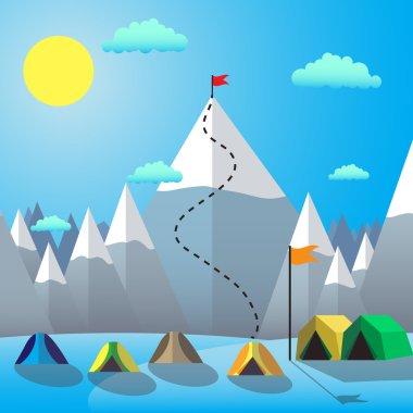 Flag On The Mountain Peak. Goal Achievement. Flat design vector illustration