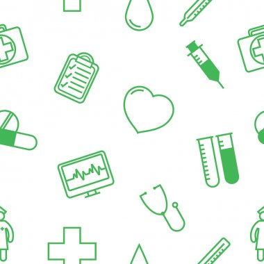 Medical icons seamless background pattern. Vector illustration in linear (flat) design.