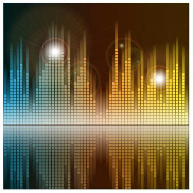 Sound waves and music background. Audio equalizer technology. Vector illustration