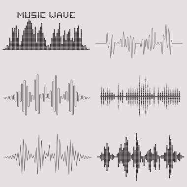 Sound waves set. Music icons. Audio equalizer technology. Vector illustration