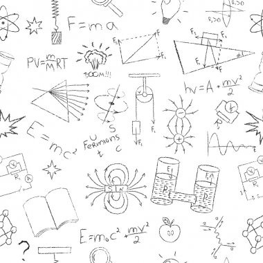 Chalk drawing effect. Physics formulas, lab elements and experiments on white background. Seamless pattern. Vector illustration