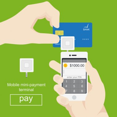 Smartphone with processing of mobile payments from credit card. Vector in flat style.