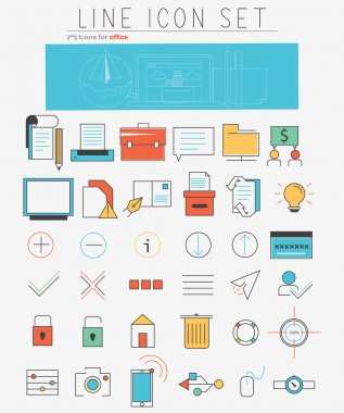 Vector line icons set. Web design elements and business items in linear style.