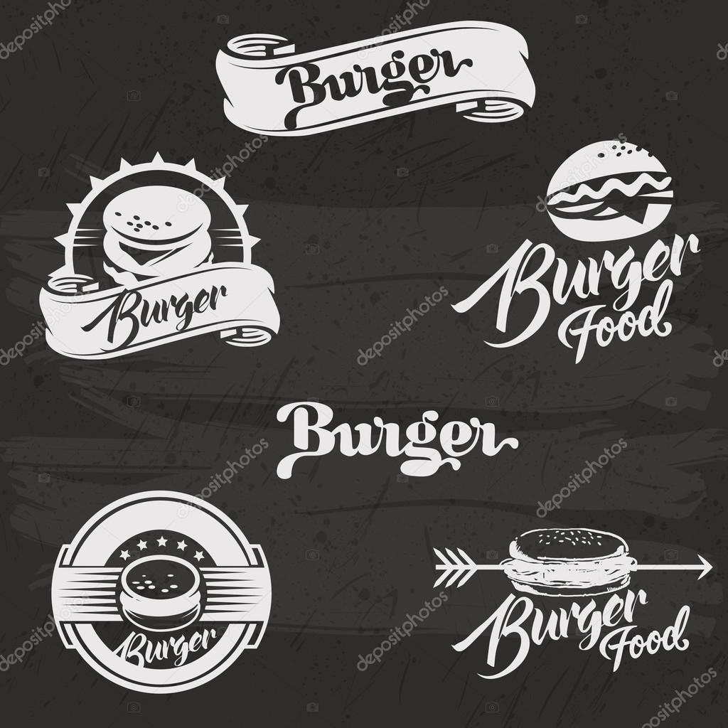 Logo De Hamburguesas En Estilo Vintage Mano Retro Dibujado