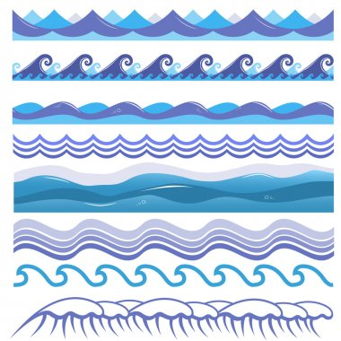 Vector illustration of ocean, sea waves, surfs and splashes. Seamless isolated pattern.