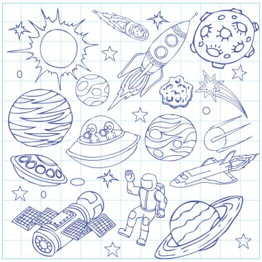 Sheet of exercise book with outer space doodles, symbols and design element. Cartoon background. Hand drawn vector illustration.