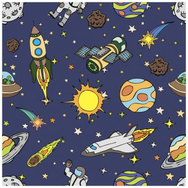 Seamless pattern with outer space doodles, symbols and design elements. Cartoon colorful background. Hand drawn vector illustration.