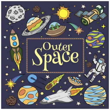 Outer Space doodles, symbols and design elements. Cartoon space icons. Hand drawn vector illustration.