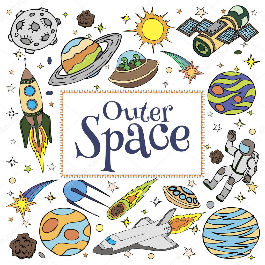 Outer space doodles symbols and design elements cartoon for Outer space planning and design