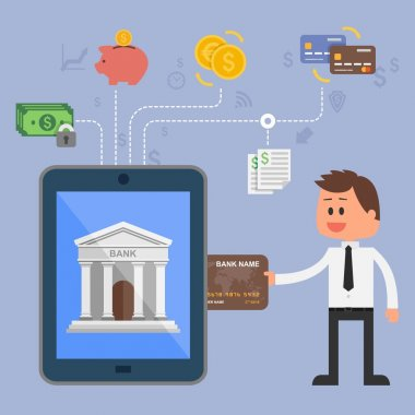 Vector illustration concept of internet banking. Icons for online mobile payments, credit cards, wire transfers and bank money savings.