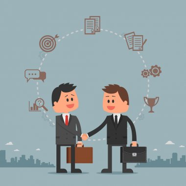 Business concept vector illustration in flat cartoon style. Men shaking hands. Businessmen making a deal.
