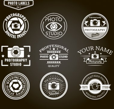 Vector set of photography logo templates. Photo studio logotypes and design elements.