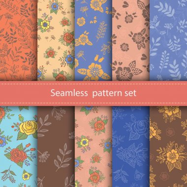 Vector set of seamless floral patterns. Decorative flowers and design elements for textile, book covers, manufacturing.