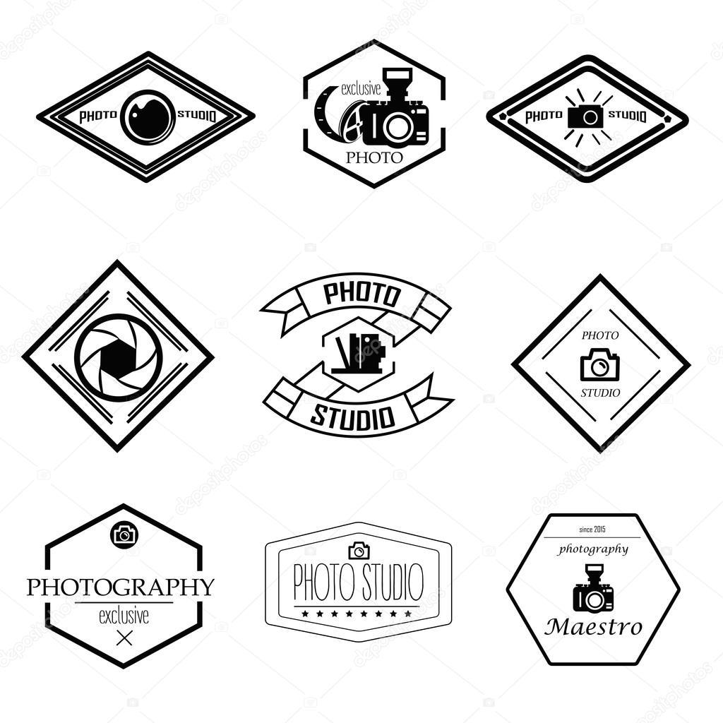 Vektor-Satz von Fotografie und Logo-Vorlagen. Foto Studio Logos ...