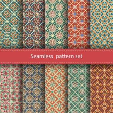 Vector set of 10 seamless mosaic patterns. Arabic tile texture with geometric ornament. Decorative and design elements for textile, book covers, manufacturing, wallpapers, print, gift wrap clip art vector