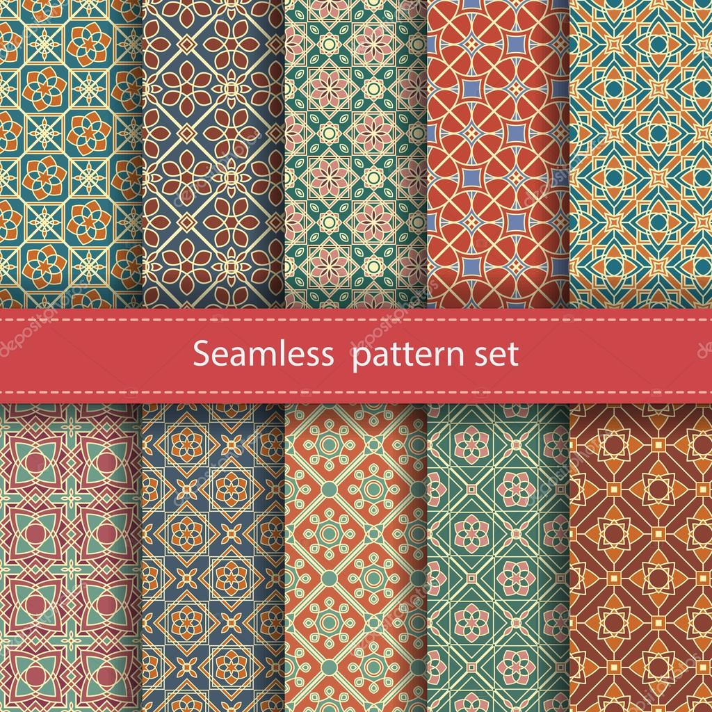 Vector set of 10 seamless mosaic patterns. Arabic tile texture with geometric ornament. Decorative and design elements for textile, book covers, wallpapers