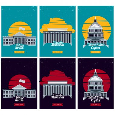 USA tourist destination posters. Vector illustration with American famous buildings. Capitol, White House, Lincoln Memorial monument