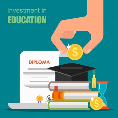 Invest in education concept. Vector illustration flat design. Stack of books, diploma and university student cap