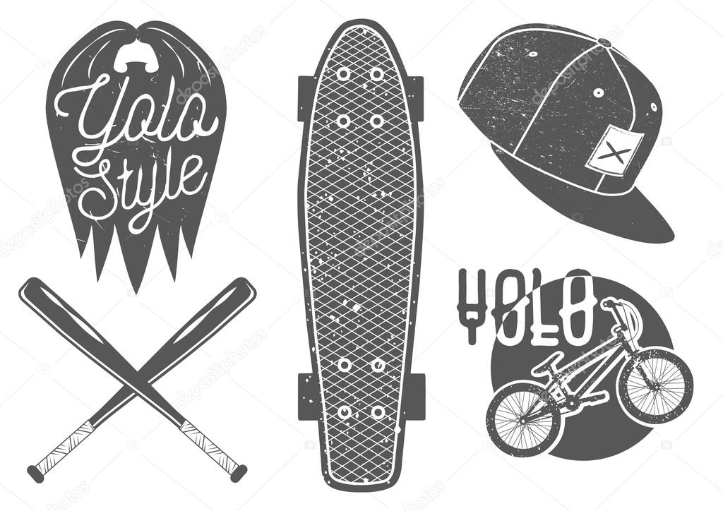 Vector Set Of Vintage Sport Labels Emblems And Logo Yolo Lettering Typography Design Elements Skateboard Baseball Bat Rap Cap Bicycle By