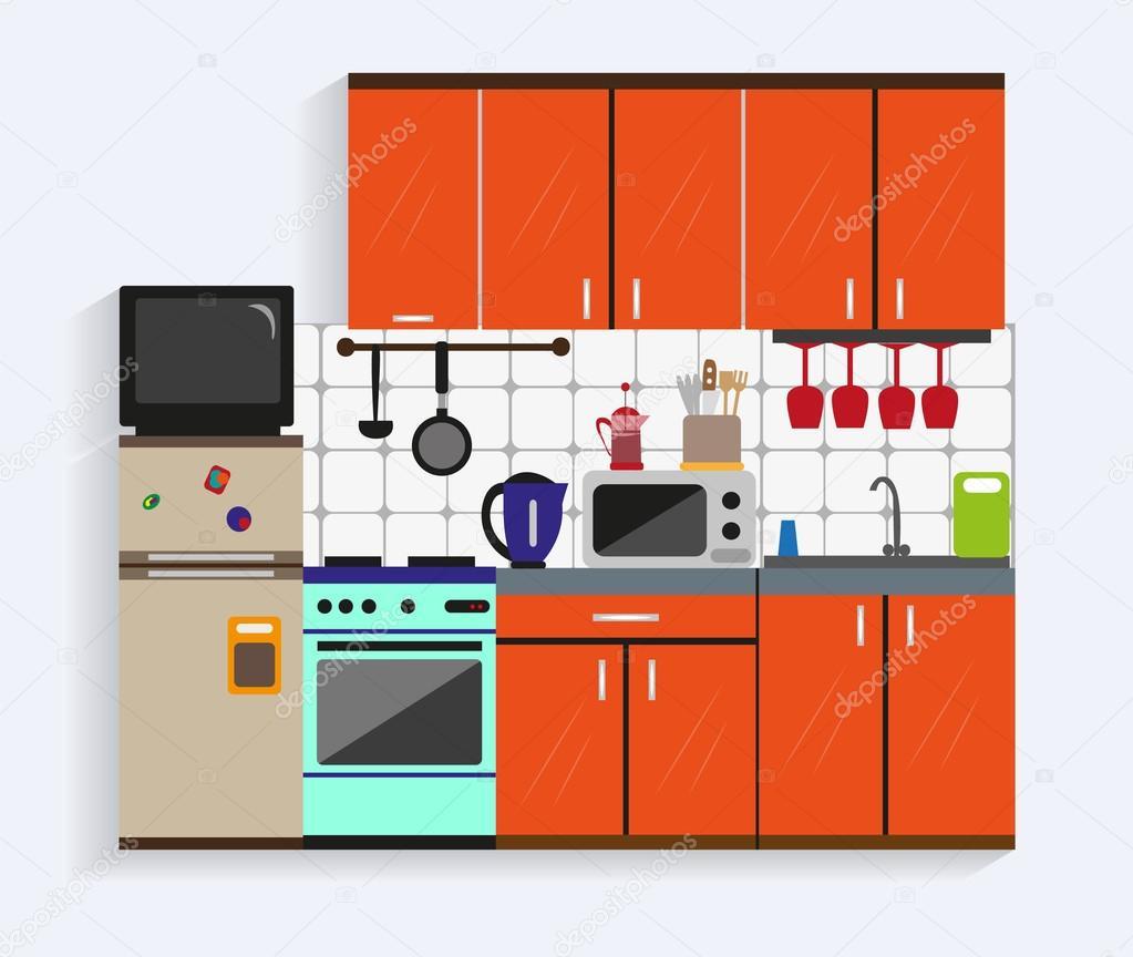 평면 스타일에서 가구와 주방 인테리어입니다. 디자인 요소와 ...