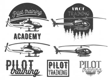 Vector set of helicopter school emblem, label, logo and design elements. Pilot academy isolated icons
