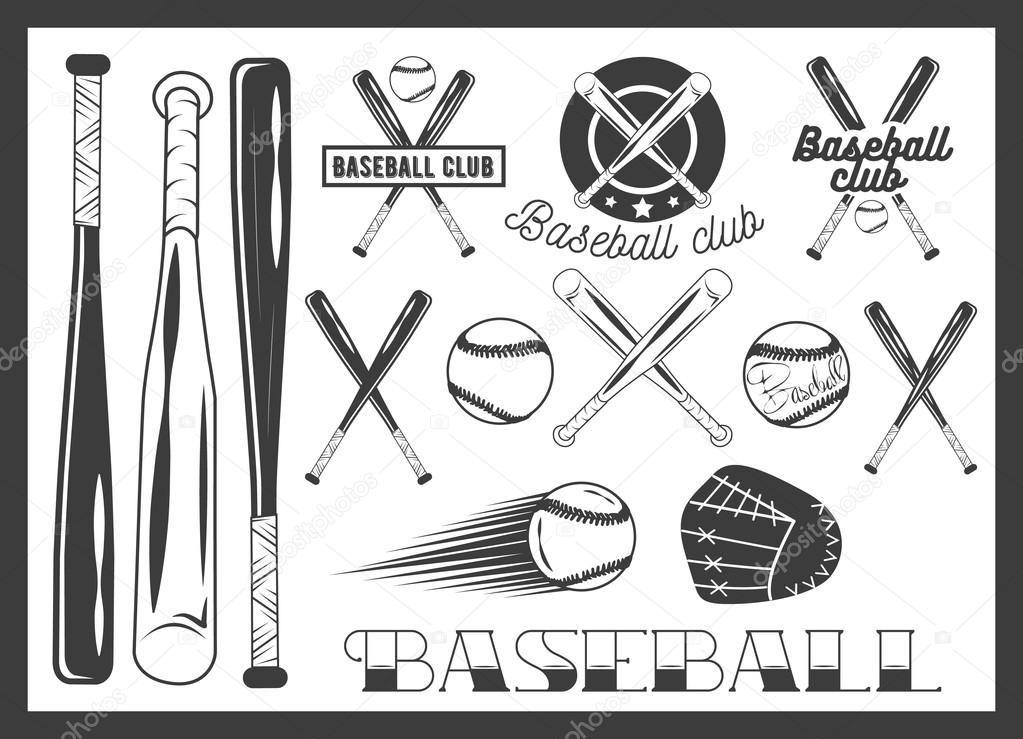 Vector Set Of Baseball Club Emblem Label Badges Logo And Design Elements Sport Icons In Vintage Style Bat Ball Glove Crossed Bats