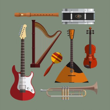 Musical instruments collection. Music icon vector set. Flat design illustration with musical objects, guitar, violin, drum, harp