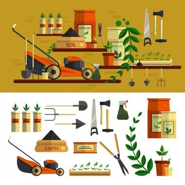Gardening tools illustration. Vector icon set flat design. Work in garden concept. Lawn mower, soil, tools.