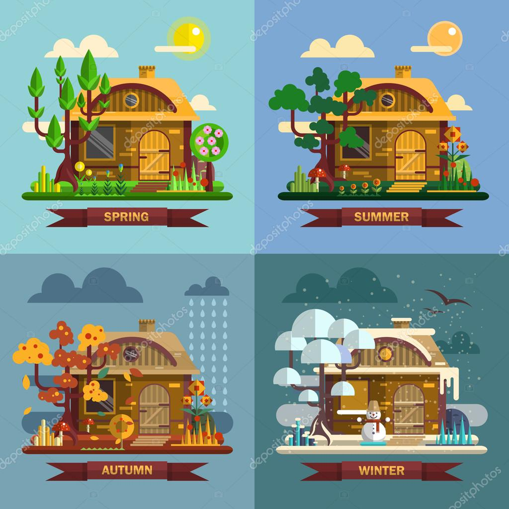 House in different times of the year. Four seasons concept, summer, fall, autumn, winter. Vector set flat design