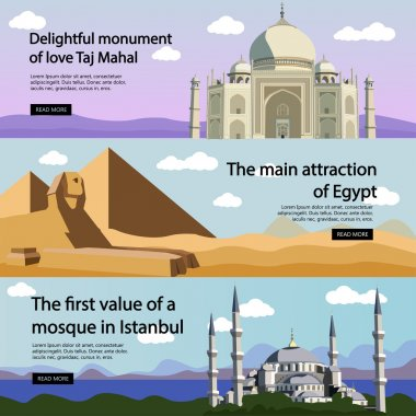 Travel banner vector set. International culture, tourist attractions and landmarks. Turkey Mosque, Egypt pyramids, India Taj Mahal.