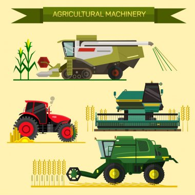 Vector set of agricultural vehicles and farm machines. Tractors, harvesters, combines. Flat design.