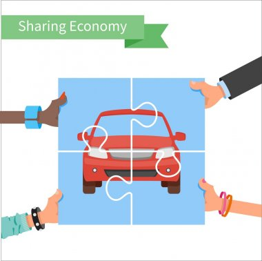 Car share concept. Sharing economy and collaborative consumption vector Illustration. Hands holding vehicle puzzle