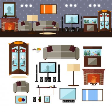Living room interior with furniture. Vector illustration in flat style. Home related design elements and icons