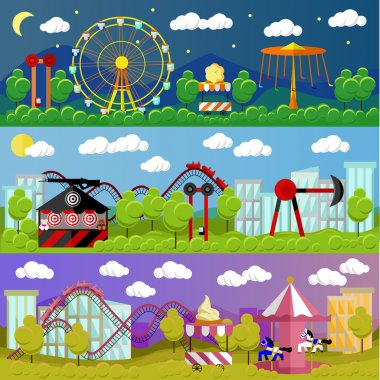 Amusement park banner concept vector illustration in flat style design. City fair. Slides and swings, carousels, attractions